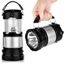 Portable Outdoor LED Lantern Solar Lamp Lights Flashlights with Rechargeable Battery for Hiking Fishing with US Plug (Black)(China)