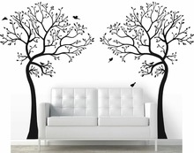 2 x 7FT. LARGE Wall Decal TREE WITH BIRDS Deco Art Sticker Mural - COLOR BLACK DIY Removable wallpaper size 84*64inches
