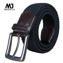 2017 Hot Colors Men Women's Casual Knitted Belt Woven Canvas Elastic Stretch Belt Plain Webbing Belt High Quality Braided Strap(China)