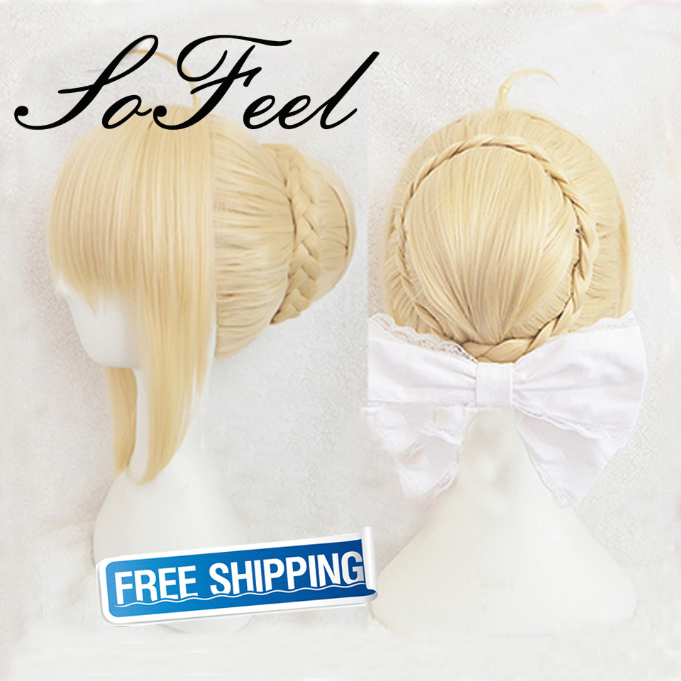 Sofeel synthetic wigs Fate updo Saber sideburns short blonde synthetic wig perruque cheveux synthetic pelucas cosplay<br><br>Aliexpress
