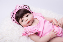 "22"" Full Body Silicone Reborn Babies Doll Toy Baby Reborn Pink Princess Doll Child Birthday Gift Present Lovely Girls Brinquedos(China)"