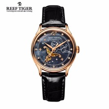 2017 Reef Tiger/RT Luxury Designer Watches Women's Lover Watches Rose Gold Tone Mother of Pearl Dial Watch Leather Strap RGA1550(China)