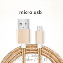 Micro USB Cable 0.25M 1M Metal Braided Wire 2.0 Data Sync Charging Data Cable Output For Samsung Galaxy G891 S6 Active G890 T705