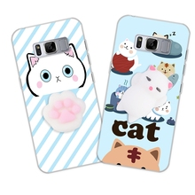 Anti Stress Funny Cat Case For Samsung Galaxy S8 S8 Plus S6 S7 Edge Case Soft Silicone Cover Squishy Claw Gel Kitty Phone Cases