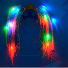 10pcs/lot Birthday party Flash Light Up Braids Crown Noodle Head Band LED Party Headband Rave HairBand Kid gift(China)