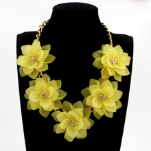 Romantic Fresh Colorful Short Fashion Women Jewelry Choker Necklaces Five Flower Necklace Popular Accessories 13 Colors N00420(China)