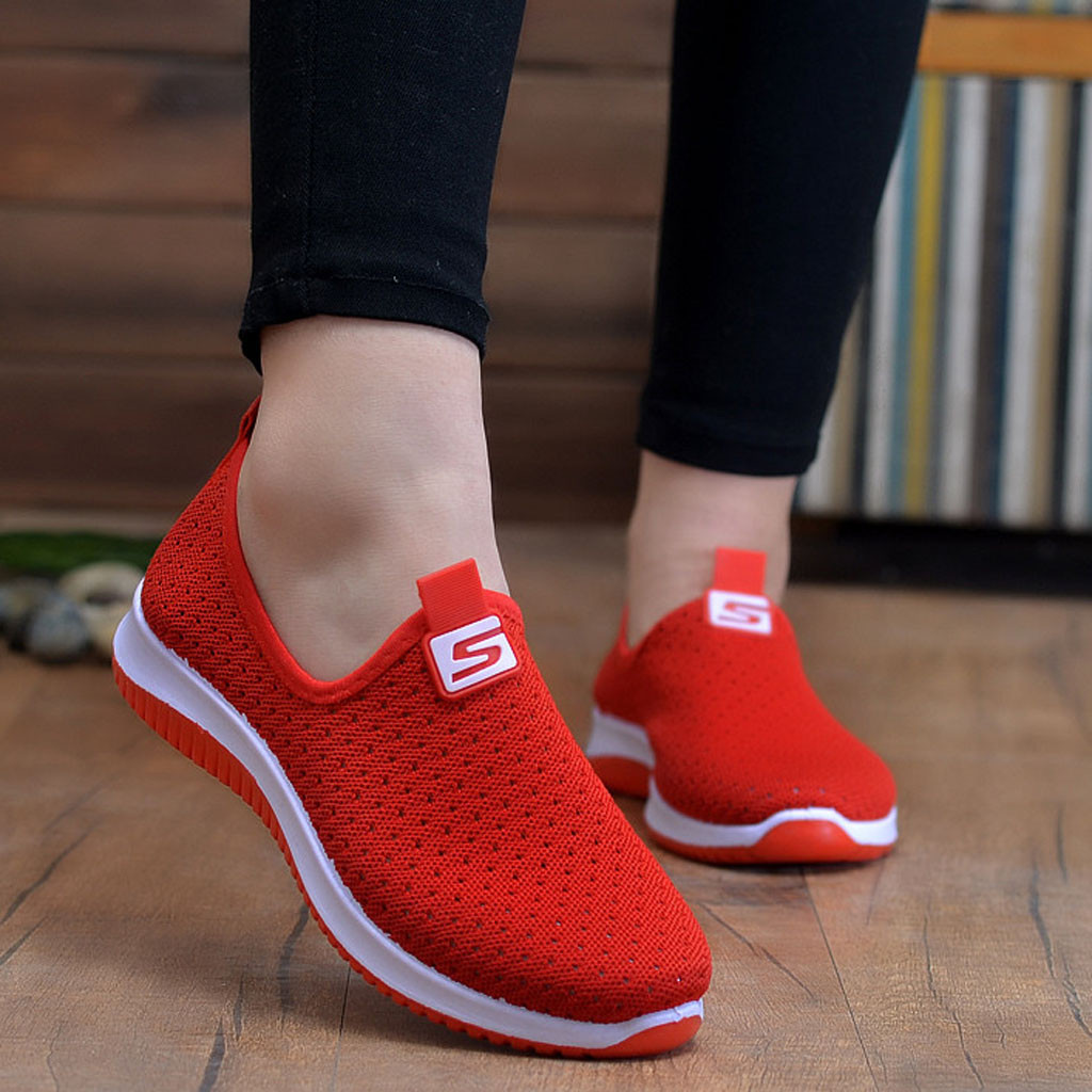 plus size breathable air mesh sneakers women 2019 spring summer slip on platform knitting flats soft walking shoes woman#3(China)