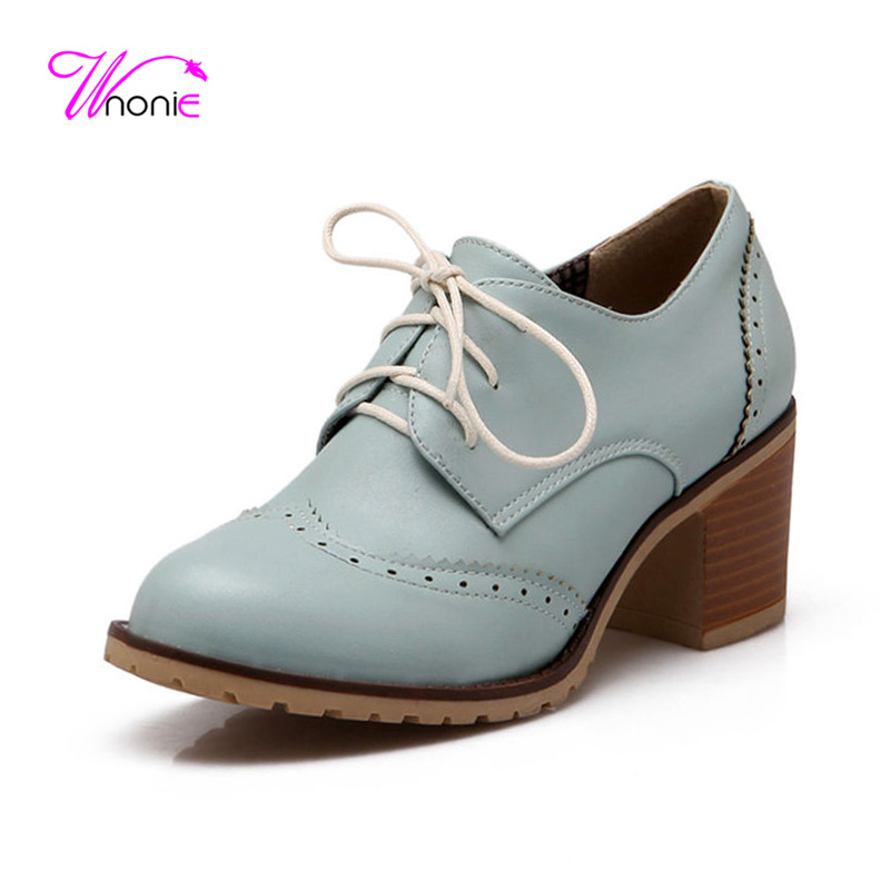 2017 Women Pumps Block Square High Heel Pumps Female Ladies Shoes Oxford Derby Round Toe Lace Up PU Leather Party Dress Office <br><br>Aliexpress