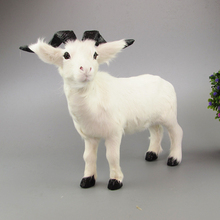 about 26x21cm white goat real fur sheep model ornament scene layout prop farm decoration gift h1285(China)