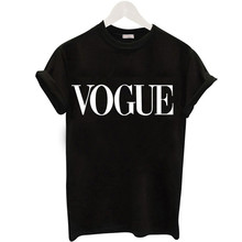 Buy Letter vogue O-neck Short Sleeve Women T Shirt Fashion Black White Ladies Casual Tops Tees Female Cotton Summer shirts 5*9271! for $3.58 in AliExpress store