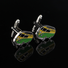 dongshengFashion Classic cars High Quality Green Bus Shape Cufflinks For Men Women Shirt Wedding Gift Cufflink Gift for Party-40