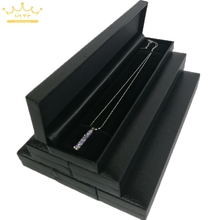 6pcs/lot Jewelry Box Black Leather Pearl Necklace Packaging Organizer Cases Choker Display Box 22.8*5*2.5cm(China)