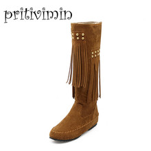 2016 plus size ladies fashion winter knee high botas mujer flat heel long bottes femmes women's moon furry snow boots 5512