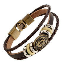 Beauty and Frogs Charm Fashion 2017 Bracelet For Women Multilayer Leather Woven ID Bracelet Animal Stud Beads Bangles Wrist Band