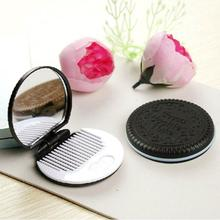 2017 HOT New Arrival 1pcs Cute Chocolate Cookie Shaped Design Makeup Mirror with 1 Comb 100% Brand new and high quality Anne