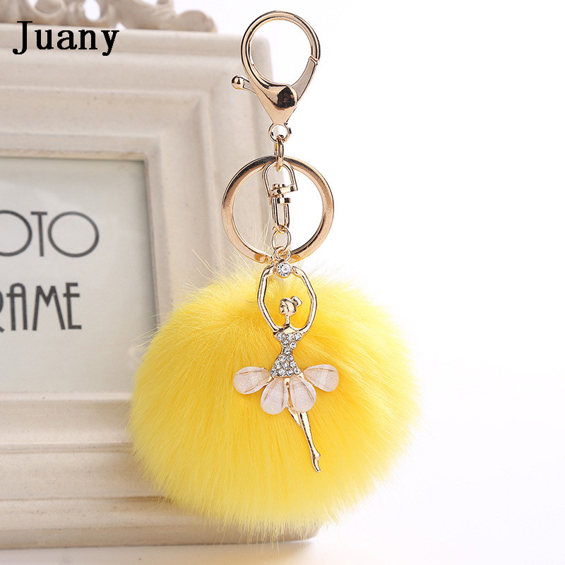 rabbit fur pompom key chain fake rabbit car keychain fur ball keychain pompom girl women charm bag  5