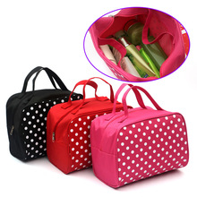 New Fashion Lady Organizer Multi Functional Cosmetic Storage Dots Bags Makeup Bag With Pockets Toiletry Pouch sac de lavage Hot