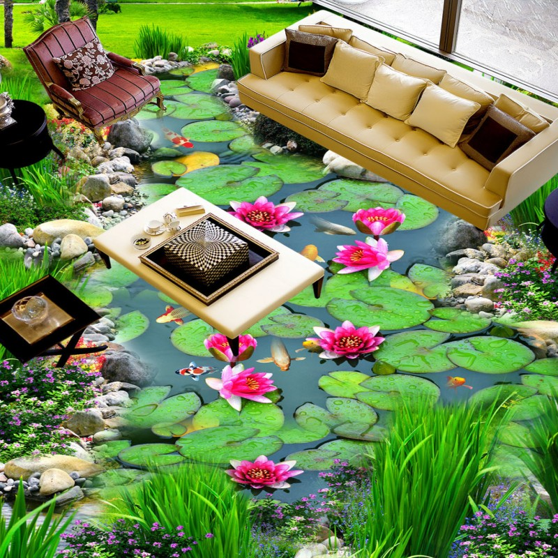 Free Shipping Creek lotus carp 3d flooring painting wallpaper porch restaurant decoration waterproof wear floor mural<br>