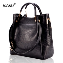 WANU 2017 Leather Women Handbag Good Quality Female Shoulder Bag Ladies Fashion Cow-leather Bags Totes As Gift for Wife Mother(China)