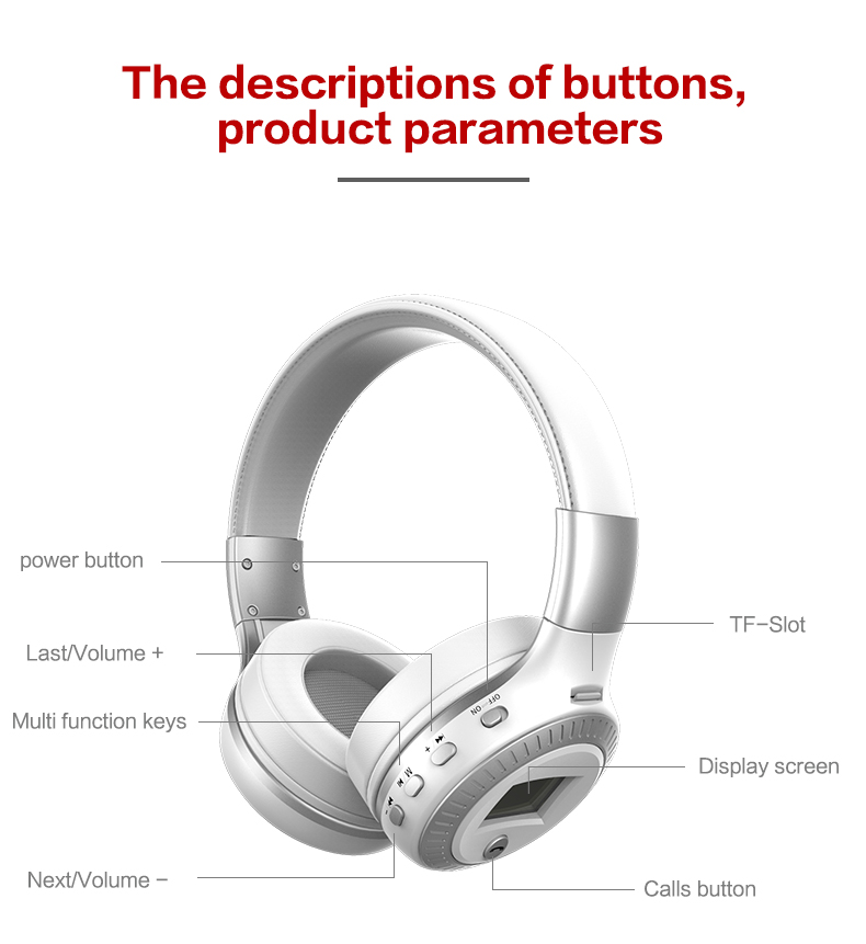 Zealot B19 Wireless Headphones LCD Display Screen HiFi Bass Stereo Earphone Bluetooth Headset with Mic + FM Radio + TF Card Slot 23
