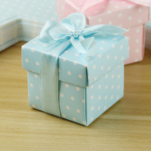 HAOCHU 50Pcs Wedding Candy Box Romantic Sweet Gift Favor Square Bag Pretty Ribbon Dot European Marriage Party Decoration Guest