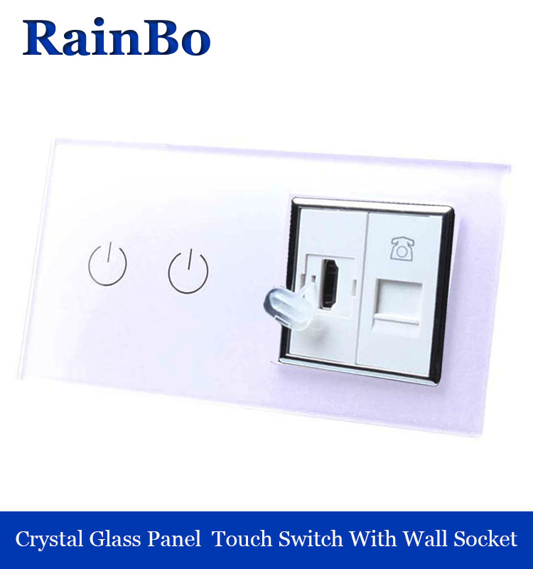 rainbo Luxury Touch Screen Control Tempered crystal Glass Panel Wall Light Home touch Switch Wall  HDMI  Socket A29218HTW/B<br>