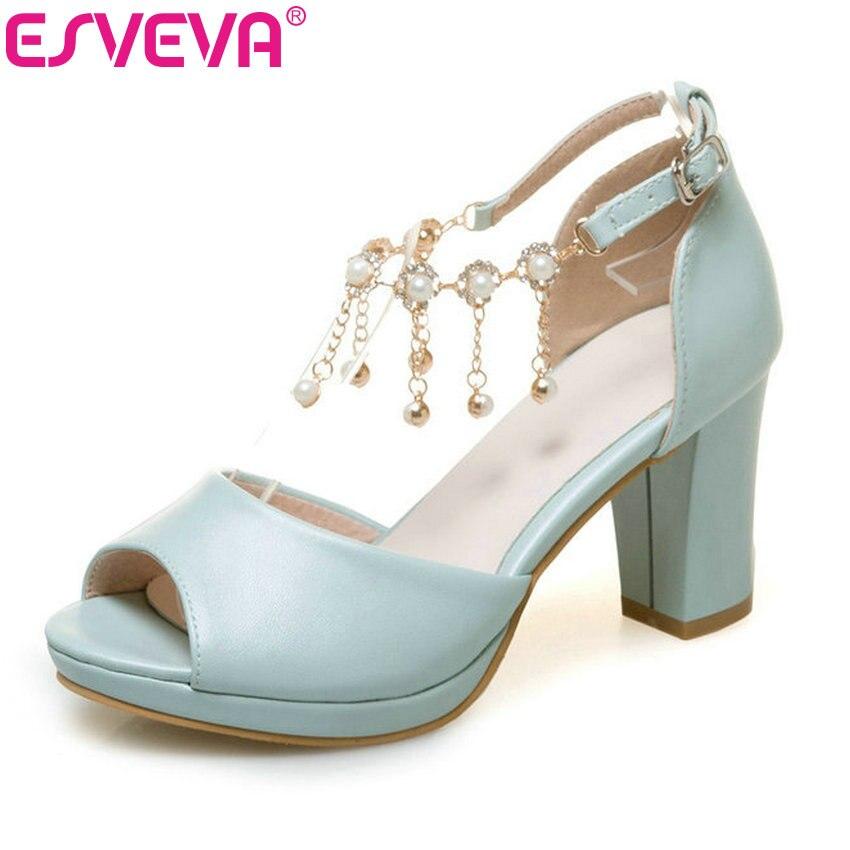 ESVEVA 2017 String Bead Ankle Strap Summer Shoes Square High Heel Women Pumps Peep Toe Blue White Wedding Shoes Big Size 34-43<br>