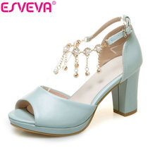 ESVEVA 2017 String Bead Ankle Strap Summer Shoes Square High Heel Women Pumps Peep Toe Blue White Wedding Shoes Big Size 34-43(China)