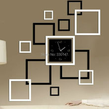 Black and Silver Mirror Effect Frame Wall Clock Acrylic Wall Sticker DIY Modern Design Square Watch for Home Decoration 91X82CM