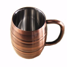 Double Wall Stainless steel Barrel-shape Beer Glass Coffee Cup Milk Mug FG
