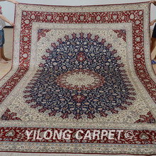 Yilong 9'x12' Antique classic persian rug large medallion vantage Chinese silk carpet (0900)(China)