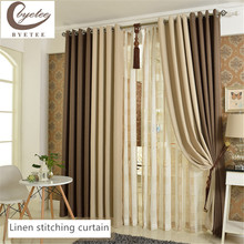 byetee Curtains Flax High Quality 100% Full Light Shading Cloth Simple Living Room Bedroom Product Customized Stitching Curtain