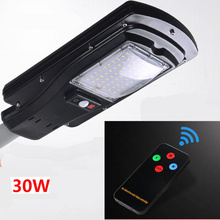 30W Outdoor Waterproof Motion Sensor Solar Powered LED Pole Wall Street Path Light For Garden 3 Working Modes(China)