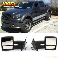 Fit For 2004-2014 Ford F150 Side Rear View Towing Mirrors Manual Non Heated Black Pair