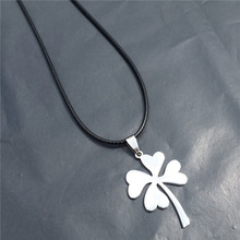 4 Leaf Clover Pendant Jewelry Top Quality Stainless Steel Grass Necklace with black rope(China)