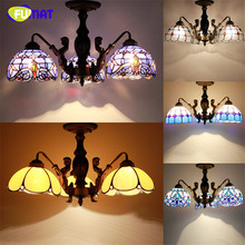FUMAT Stained Glass Ceiling Lamp Tranditional Art Mermaid Body Tiffany Lights Flower Baroque Restaurant Hotel lamparas de techo(China)
