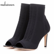 Fashion New Women Shoes Knitted Fabric High Heels Summer Ankle Boots Female Booties Black Open-Toed Shoes Women Pumps Size 34-40(China)