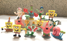 Free shipping 13pcs/set Anime Spongebob Model Bob Sponge PVC Dolls Sponge Bob Action Figures Kids Toys For Boys Girls Gift