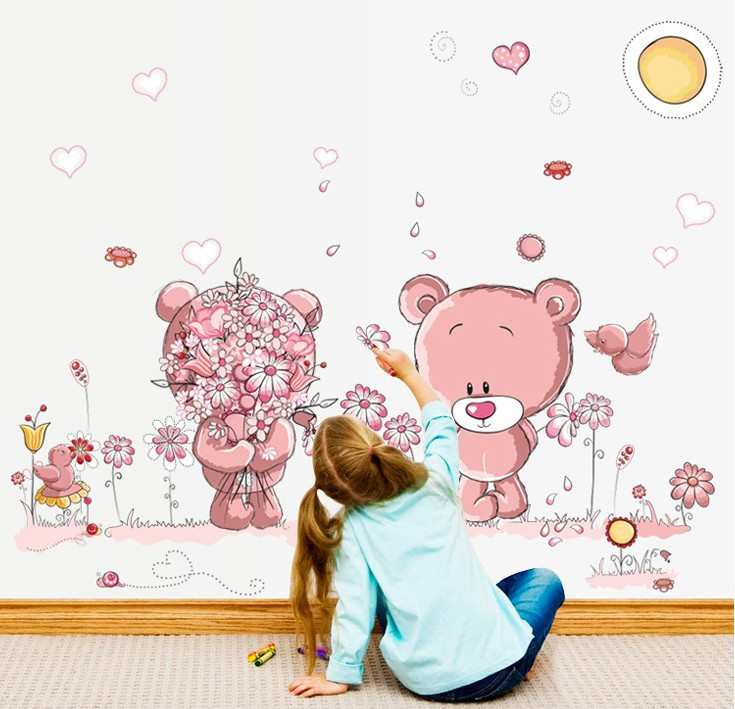HTB1e9samZrI8KJjy0Fhq6zfnpXaZ - Pink Cartoon Cat Rabbit Flower Wall Sticker For Baby Girls Kids Rooms