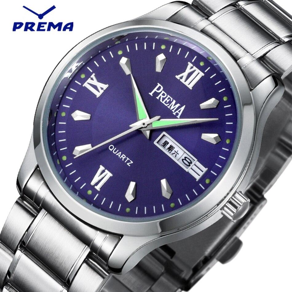 PREMA Brand Japan Movment Stainless Steel Men Watch Business Fashion Blue Quartz Wrist watches Auto Date Week Relogio Masculino<br>