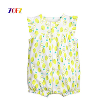 ZOFZ Cute Baby Girls Clothes Sets Short Print Cotton Lovely Rompers Jumpsuit+Short Set Pants Creative Yellow Clothing babies