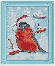 Прекрасный Рождество птица печатных холст DMC Счетный крест Наборы печатное набор крестиком Вышивка рукоделие(China)