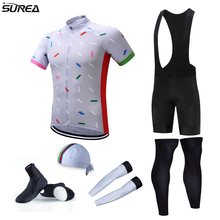 2017 pro team cycling full set 6pcs cycling jersey set men's jersey with hat sleeves leg warmer shoes cover bicycle clothes sets