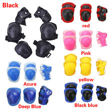 6pcs Skating Cycling Sports Safety Protective Tactical Gear Set knee pads & elbow pads Skateboard Ice Skating Wrist Protector(China)