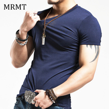 2017 MRMT Brand Clothing 10 colors elastic V neck Men T Shirt Mens Fashion Tshirt Fitness Casual Male T-shirt 5XL Free Shipping