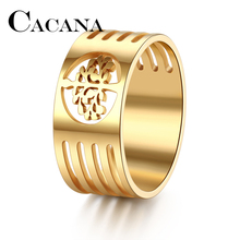 CACANA HIP Punk Gold Color 316L Stainless Steel Wisdom Tree Tree Of Life Rings For Men Jewelry FULL Size 7-11 DROP SHIPPIING(China)