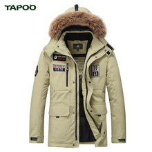 Tapoo Mens Down Coats Polyester Winter Jackets Thick 80% White Duck Down Casual Outerwear Windproof Handsome Plus Size M-3XL