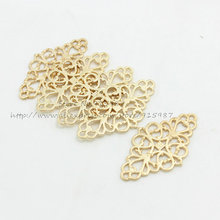 Sweet Bell (30 pieces/lot) KC gold Hollow Filigree Flower Charm Jewelry Connectors 25*41mm Vintage Filigree Jewelry Charms D0871
