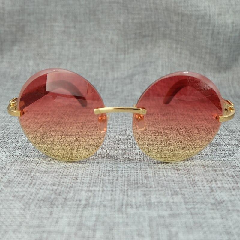 Big Round Wood Color Mix Fashion Pink Sunglasses Lady Eyewear Luxury Sun Glass Brand Designer Carter Sunglass (2)