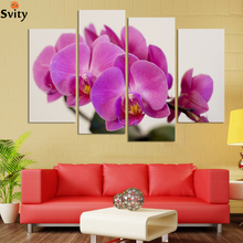 UnFramed 4 panels butterfly orchid flowers group painting canvas art home decor wall art oil painting HD image Free shipping